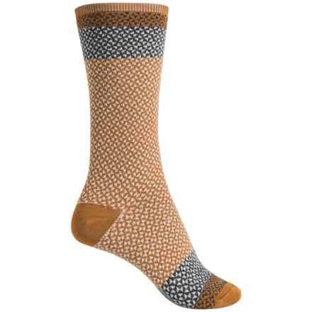 Goodhew Bow Tie Socks - Merino Wool, Crew (For Women) in Ochre - Closeouts
