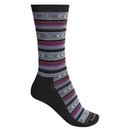 Goodhew Cabin Fair Isle Socks - Merino Wool Blend, Crew (For Women) in Black - Closeouts