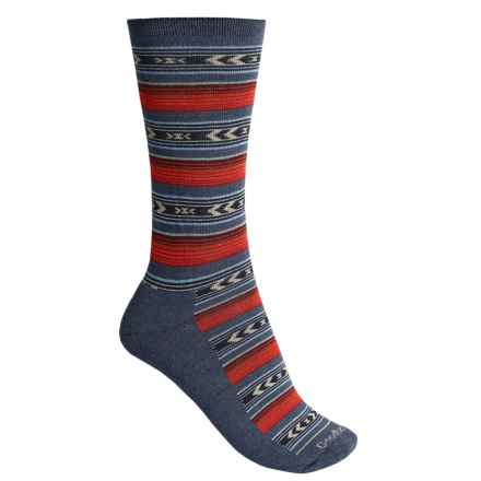Goodhew Cabin Fair Isle Socks - Merino Wool Blend, Crew (For Women) in Denim - Closeouts