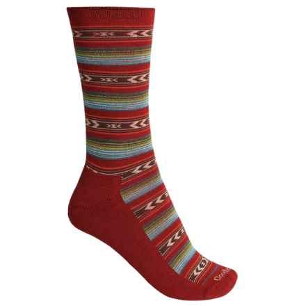 Goodhew Cabin Fair Isle Socks - Merino Wool Blend, Crew (For Women) in Ruby - Closeouts