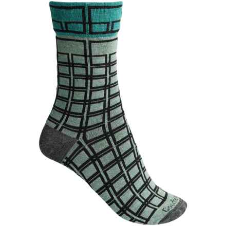 Goodhew Chick Check Socks - Merino Wool, Crew (For Women) in Celadon - Closeouts