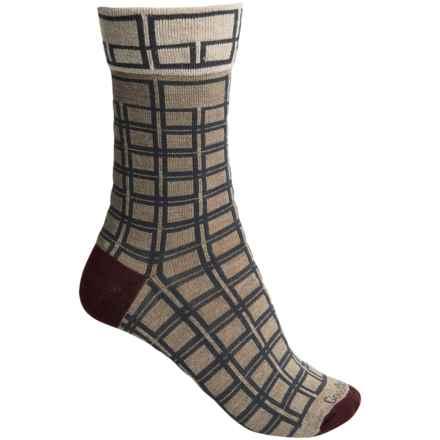 Goodhew Chick Check Socks - Merino Wool, Crew (For Women) in Khaki - Closeouts