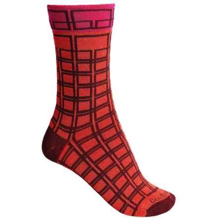 Goodhew Chick Check Socks - Merino Wool, Crew (For Women) in Poppy - Closeouts