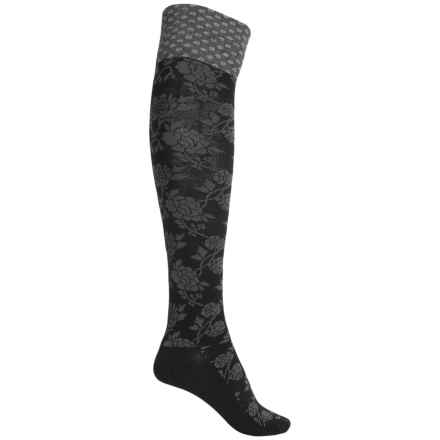 Goodhew Chinoiserie Socks - Merino Wool, Over the Calf (For Women) in Black - Closeouts