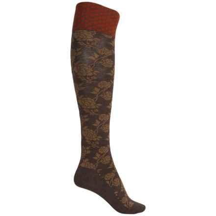 Goodhew Chinoiserie Socks - Merino Wool, Over the Calf (For Women) in Espresso - Closeouts
