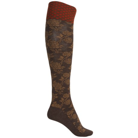 Goodhew Chinoiserie Socks - Merino Wool, Over the Calf (For Women) in Espresso