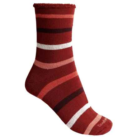 Goodhew Cushy Lounger Midweight Socks - Merino Wool Blend, Crew (For Women) in Ruby - Closeouts