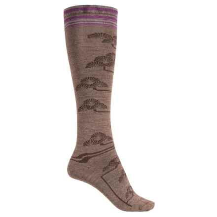 Goodhew Fan Flower Knee-High Socks - Merino Wool, Over the Calf (For Women) in Bark - Closeouts