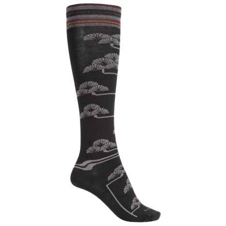 Goodhew Fan Flower Knee-High Socks - Merino Wool, Over the Calf (For Women) in Black - Closeouts
