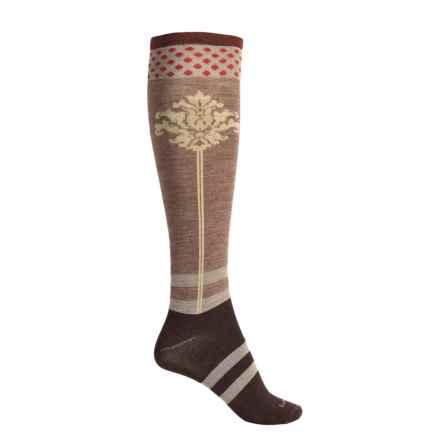 Goodhew Fleur De Plume Socks - Merino Wool Blend, Over the Calf (For Women) in Espresso - Closeouts