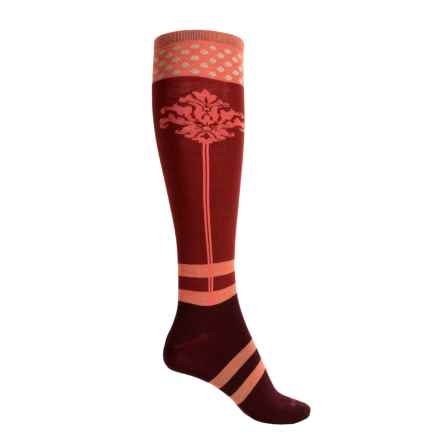 Goodhew Fleur De Plume Socks - Merino Wool Blend, Over the Calf (For Women) in Port - Closeouts