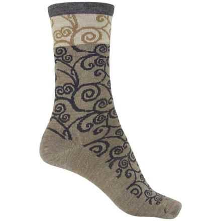 Goodhew Heraldic Swirl Socks - Crew (For Women) in Khaki - Closeouts