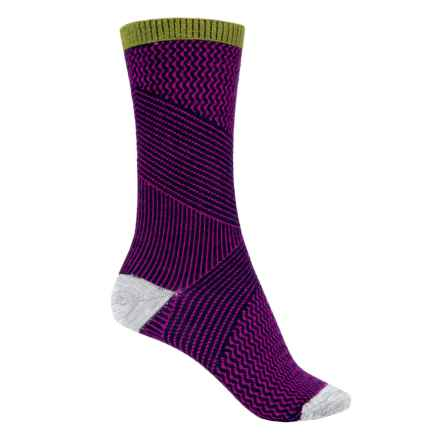 Goodhew It's a Wrap Socks - Merino Wool Blend, Crew (For Women) in Navy/Violet - Closeouts
