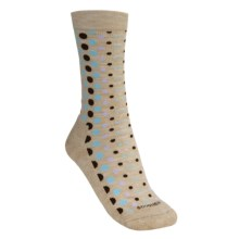 Goodhew Lifestyle Polka Dot Socks -  Merino Wool, Crew (For Women) in Khaki/Brown/Seafoam/Flerder - 2nds