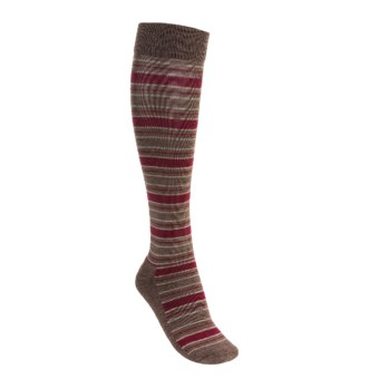 Goodhew Lucky Stripe Socks - Merino Wool, Lightweight (For Women) in Bark/Red