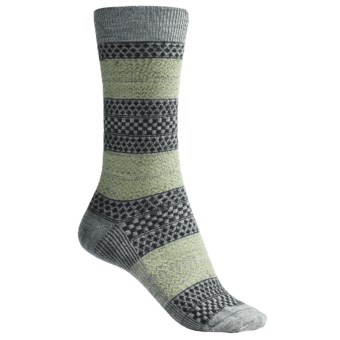 Goodhew Lucy Socks - Merino Wool, Crew (For Women) in Light Grey/Grey/Sage