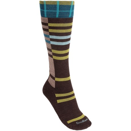 Goodhew Mega Plaid Socks - Merino Wool, Over-the-Calf (For Women) in Black