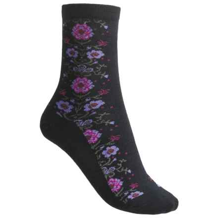 Goodhew Needlepoint Socks - Merino Wool, 3/4 Crew (For Women) in Black - Closeouts