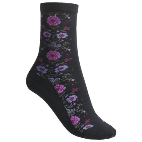 Goodhew Needlepoint Socks - Merino Wool, 3/4 Crew (For Women) in Black