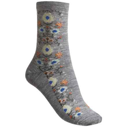 Goodhew Needlepoint Socks - Merino Wool, 3/4 Crew (For Women) in Grey - Closeouts