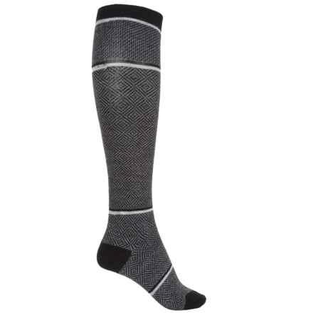 Goodhew Optic Tease Knee-High Socks - Merino Wool, Over the Calf (For Women) in Black - Closeouts
