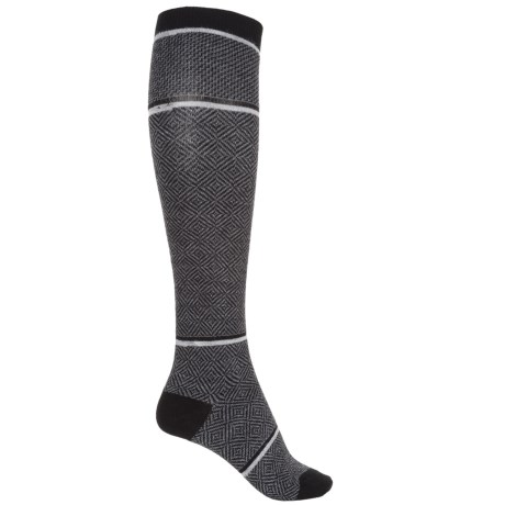 Goodhew Optic Tease Knee-High Socks - Merino Wool, Over the Calf (For Women) in Black