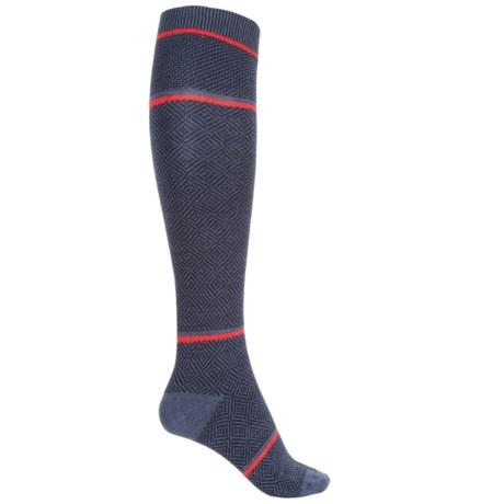Goodhew Optic Tease Knee-High Socks - Merino Wool, Over the Calf (For Women) in Denim