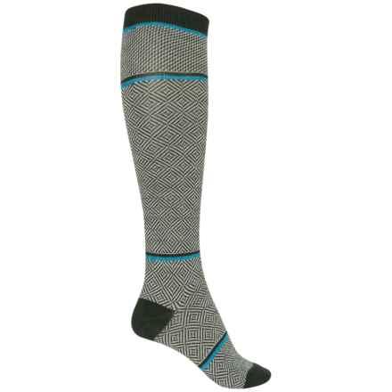 Goodhew Optic Tease Knee-High Socks - Merino Wool, Over the Calf (For Women) in Pine - Closeouts