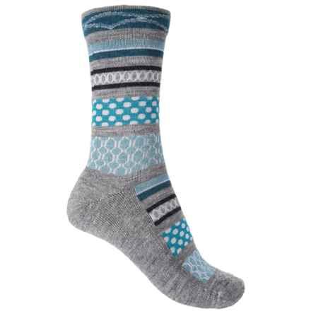 Goodhew Ribbon Fair Isle Socks - Merino Wool, Crew (For Women) in Grey - Closeouts