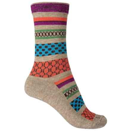 Goodhew Ribbon Fair Isle Socks - Merino Wool, Crew (For Women) in Khaki - Closeouts