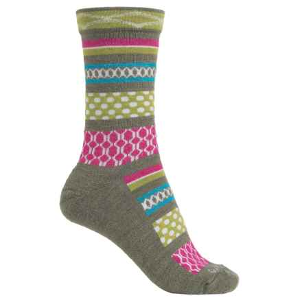 Goodhew Ribbon Fair Isle Socks - Merino Wool, Crew (For Women) in Loden - Closeouts