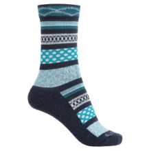 Goodhew Ribbon Fair Isle Socks - Merino Wool, Crew (For Women) in Navy - Closeouts