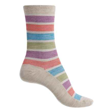 Goodhew Ringer Stripe Socks - Merino Wool Blend, Crew (For Women) in Barley - Closeouts