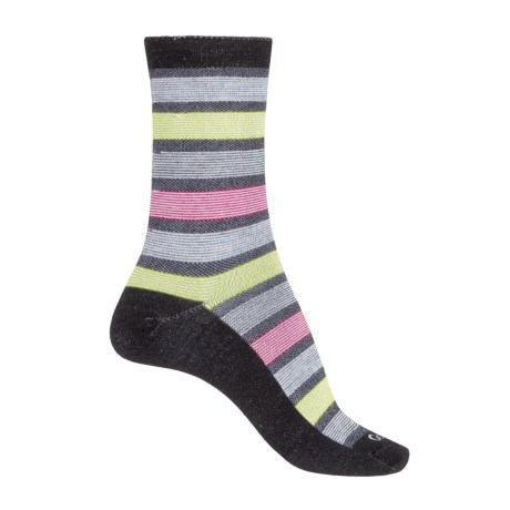 Goodhew Ringer Stripe Socks - Merino Wool Blend, Crew (For Women) in Black