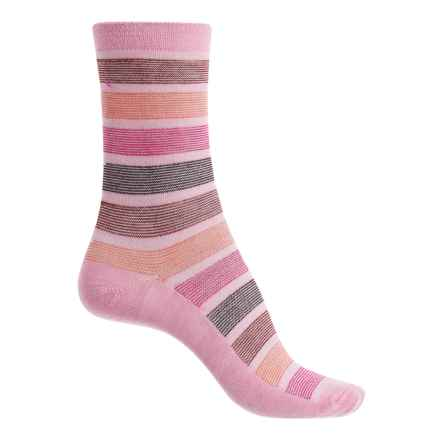Goodhew Ringer Stripe Socks - Merino Wool Blend, Crew (For Women) in Sherbet - Closeouts