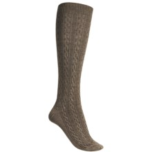 Goodhew San Fran Cable Knee-High Socks - Merino Wool (For Women) in Bark - Closeouts