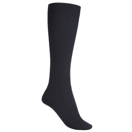Goodhew San Fran Cable Knee-High Socks - Merino Wool (For Women) in Navy