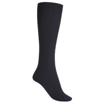Goodhew San Fran Cable Knee-High Socks - Merino Wool in Navy