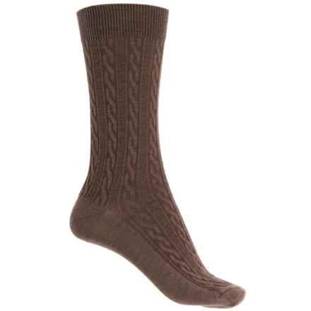 Goodhew San Fran Cable Socks - Merino Wool, Crew (For Women) in Bark - Closeouts