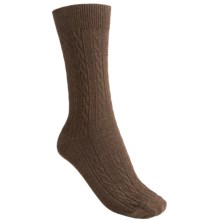 Goodhew San Fran Cable Socks - Merino Wool, Crew (For Women) in Chocolate - Closeouts