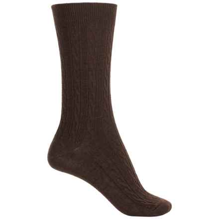 Goodhew San Fran Cable Socks - Merino Wool, Crew (For Women) in Espresso - Closeouts
