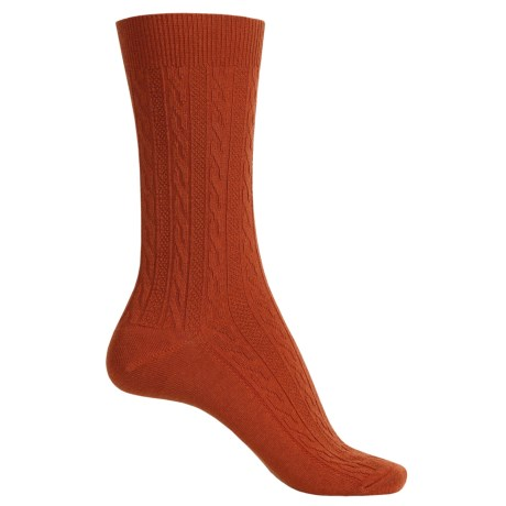 Goodhew San Fran Cable Socks - Merino Wool, Crew (For Women) in Ginger