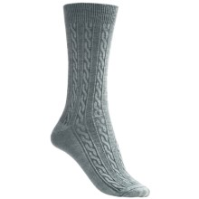 Goodhew San Fran Cable Socks - Merino Wool, Crew (For Women) in Peacock - Closeouts