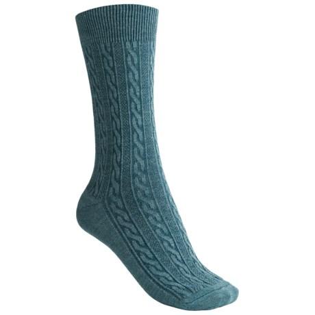 Goodhew San Fran Cable Socks - Merino Wool, Crew (For Women) in Teal