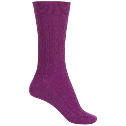 Goodhew San Fran Cable Socks - Merino Wool, Crew (For Women) in Violet - Closeouts