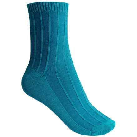 Goodhew Shadow Rib Socks - Crew (For Women) in 680 Turquoise - Closeouts