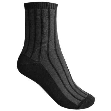 Goodhew Shadow Rib Socks - Crew (For Women) in Black - Closeouts