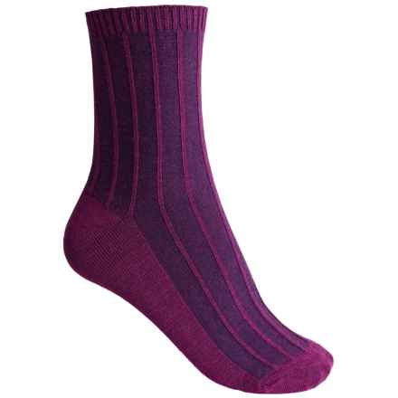 Goodhew Shadow Rib Socks - Crew (For Women) in Violet - Closeouts