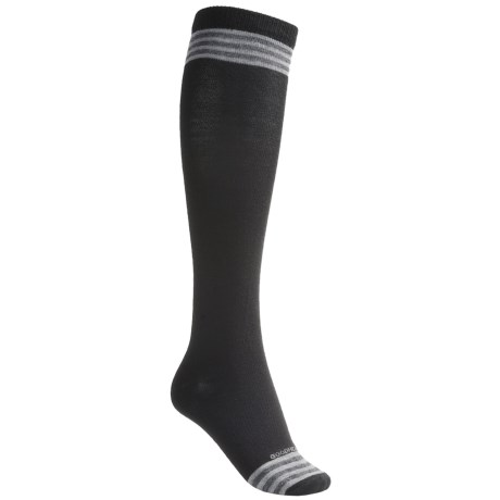 Goodhew Stripe Knee-High Socks - Merino Wool, Over the Calf (For Women) in Black/Light Grey/Charcoal