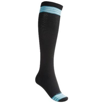 Goodhew Stripe Knee-High Socks - Merino Wool, Over the Calf (For Women) in Black/Turquoise/Mist